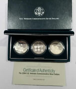 1994 Us Veterans Uncirculated Silver Dollar 3 Coin Set With Box And Coa