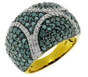 3.97ct White And Blue Diamond 14kt Yellow Gold 3d Multi Row Pave Anniversary Ring