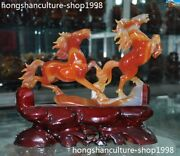 11china Natural Agate Onyx Hand-carve 2 Zodiac Sign Animal Success Horse Statue