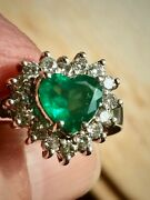 Natural Colombian Emerald Heart Cut Diamond Ring White Gold 18k