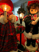 Vintage Christmas Animated Figurines Display Dickens Carolers Lighed And Musical