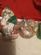 Lot O Antique Victorian German Mercury Glass White On Silver Christmas Ornaments