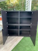 Large Storage Cabinets - Dark Brown Wood And Glass, Great Condition And Quality