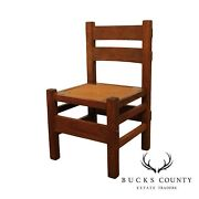 Antique Mission Oak Arts And Crafts Period Rush Seat Side Chair