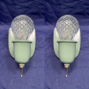 Antique Pair Mint Mid Century Wall Sconces Rewired Nice 107d