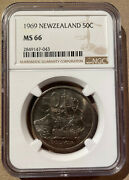 1969 New Zealand 50 Cents Ngc Ms 66 - 2 In Higher Grades