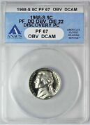 Discovery Coin...1968 S Jefferson Nickel Anacs Pf 67 Dd Obv Dcam 1/1 Top Pop