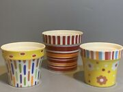 Villeroy And Boch Candy Striped Fun Colorful Mini Ceramic Porcelain Jars Set Of 3