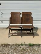 Folding Chairs Vintage Antique Waiting Room Theater Stadium Seats Row Wood