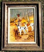 Large Antique Americana Hunting Scene By Bud Sneling Signed Dated 1945