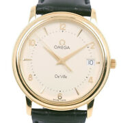 Omega De Ville Watches Black K18 Yellow Gold/leather Mens Golddial