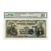 1882 Date Back 20 Currency Note Saint Louis Missouri Pmg Vf 35