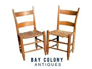 19th C Antique Country Primitive Pair Of Windsor Thumb Back Chairs