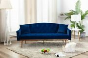 1pc Sofa Navy Color Velvet Fabric Upholstered Living Room Couch Multi Functional