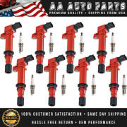 8 Red Ignition Coils And 8 Spark Plugs For Dodge Ram 1500 Jeep Grandcherokee Uf270