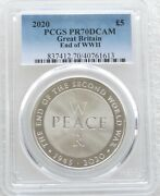 2020 End Of Second World War Andpound5 Five Pound Silver Proof Coin Pcgs Pr70 Dcam