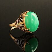 vintage 18k Gold Natural Nephrite Statement Ring Size 5 Weight 6.4 Grams