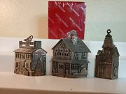 Lot Of 3 Reed And Barton Village Houses And Store Christmas Ornaments