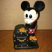 Rare Early 1930and039s Walt Disney Crown Toy Mickey Mouse Treasure Chest Coin Bank