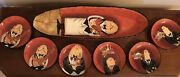 7 Pc. Tracy Flickinger Dinner Is Served Bread Dish W/ 6 Appetizer Platesnice