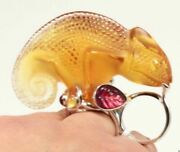 2090 Lalique Crystal Amber Cameleon 925 Ss Mounting Chameleon Ring Us-6 T52
