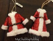 Nwt Pottery Barn S/2 Mr And Mrs Claus Ornament Christmas Suit And Dress Santa