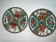 Antique Rare Collectible Beautiful Hand Painted 2 Large Plates Marked On Bottom