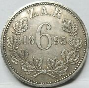 South Africa Britain Silver 6 Pence Sixpence 1895 Xf / Au Kruger D11