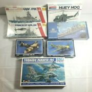 Vintage Lot Of 7 Plastic Scale Model War Planes And Ships - British Usa German New