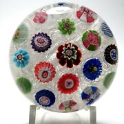 Antique Clichy Spaced Concentric Millefiori On Lace Paperweight With Rose