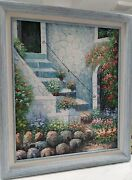 Blue Framed Signed Painting Of Architecture House Floral Landscape Stairs