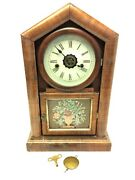 Antique Hand Reverse Painted Glass Front Ansonia Clock Co Ct Mantle Clock Parts