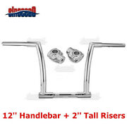 Chrome 12 Mini Ape Monkey Handlebars + 2and039and039 Riser Clamps For Harley Softail Dyna