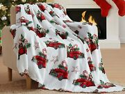 Christmas Holiday Throw Blanket Country Rustic Red Truck Cookies Candy Canes