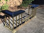 Vtg Brass And Blk Leather Fireplace Fender 55andrdquowx17andrdquodx20.5andrdquoh