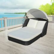 Outdoor Double Sun Bed lounger W/ Canopy And Cushions Poly Rattan Garden Patio