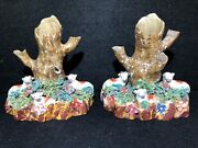 Rare Pair Of Early Staffordshire Pottery Spill Vases With Sheep C.1810