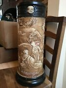 Extremely Rare Bretby Art Pottery Art Nouveau Walking Stick Stand Chinese Style