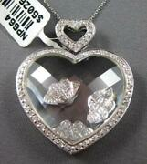 Extra Large .71ct Diamond And Crystal 14k White Gold Double Heart Floating Pendant
