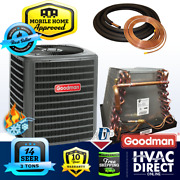 3 Ton 14 Seer Goodman Mobile Home Ac Heat Pump + Adp Coil + 30and039 Copper Line Set