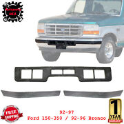 Front Bumper Molding Center + Molding Pad For 92-97 Ford 150-350 / 92-96 Bronco