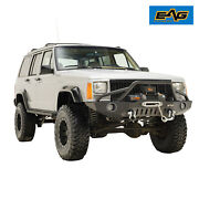 Eag Fits 84-01 Jeep Cherokee Xj Steel Front Bumper W/ Led Lights And Winch Plate