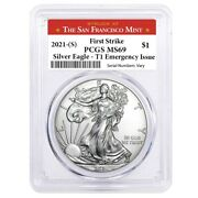 2021 S 1 Oz Silver American Eagle 1 Coin Pcgs Ms 69 Fs Sf Emergency Issue