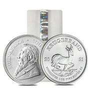 Roll Of 25 - 2021 South Africa 1 Oz Silver Krugerrand Bu Tube Lot Of 25