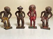 Group Of 4 Western Metal Manoil Type Action Figures Toys