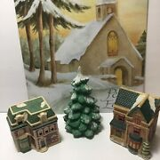 Vintage Lot Of 3 Christmas Ceramic Village Houses + Snow Covered Trees Figurines