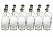 Clear 750ml Rum Bottles 21.5mm Cork Finish 12 Count With Corks