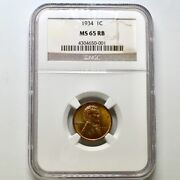 1934 1 C Ms 65 Rb Ngc Proof Uncirculated Wheat Cent Penny Us Coin Collection Usa