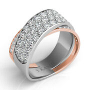 1.71ct Diamond 14kt White And Rose Gold Multi Row Criss Cross X Infinity Love Ring