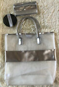 Elizabeth Arden Silver Metallic Mesh Tote And Matching Cosmetic Bag Pouch — New